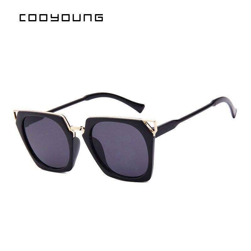 COOYOUNG Hot Sale Fashion Sunglasses Women Classic Brand Designer Female Coating Mirror Flat Panel Lens Sun Glasses UV400