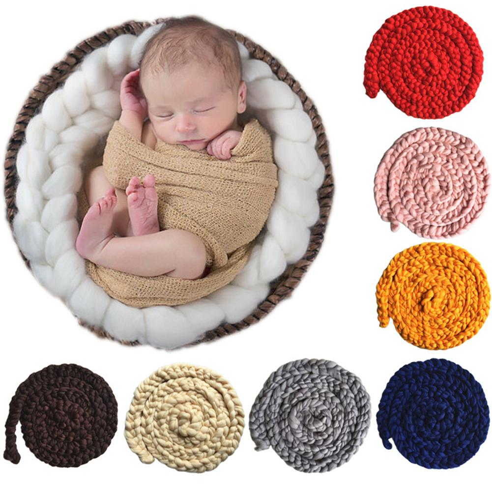 Newborn Baby Blanket Solid Color Hand-Woven Twisted Braid Rug Blanket Photography Props Length 340cm