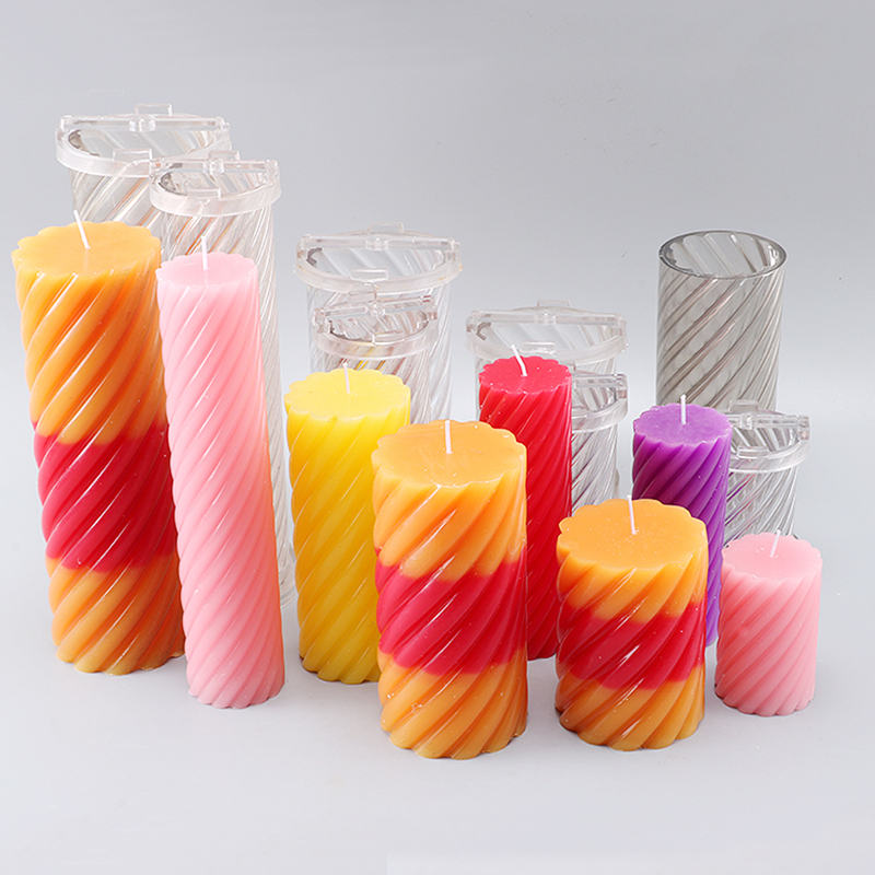 Eight Size DIY Handmade Cylindrical Candle Molds Spiral Shape Candle End Product Diy Candle Moulds For Bedroom Decoration Lz30