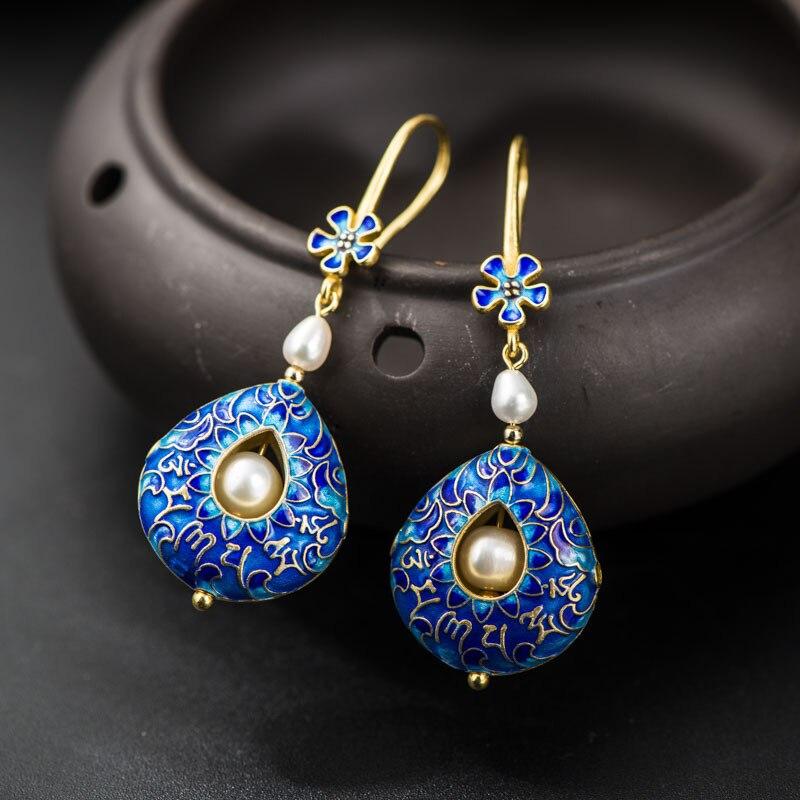 Cloisonne Tibetan Silver Women Drop Earrings 925 Sterling Silver Pearl Drop Earrings Long S925 Cloisonne Ladies Drop Earrings