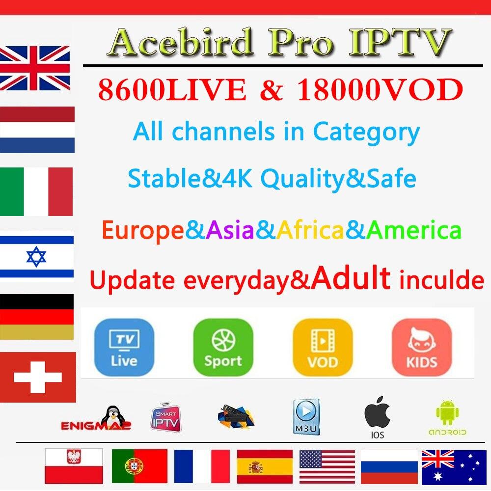 Acebird Iptv Subscription Netherlands Germany UK Switzerland Israel Russian Australia Poland 8600Live 8000VOD EPG Adult