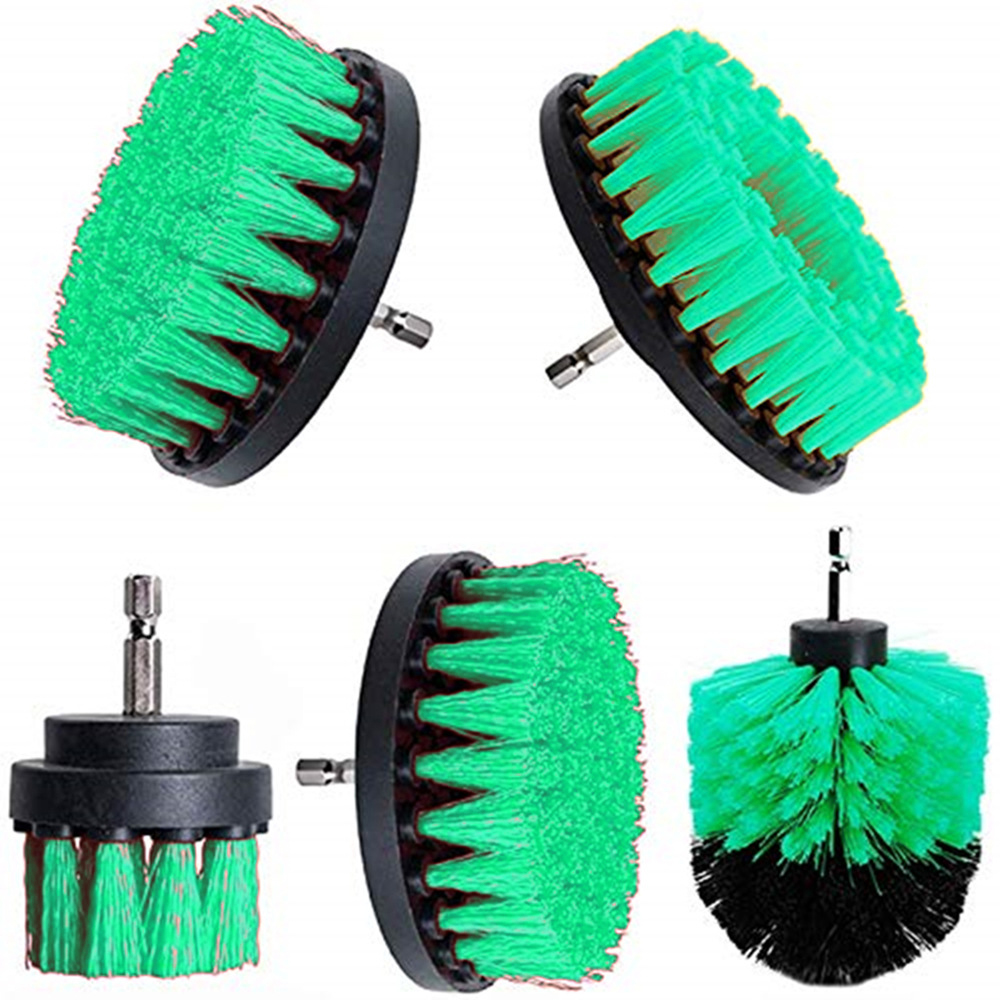 2 3.5 4 5 inch Drill Cleaning Brush Round Head Power Scrubber Stiff Bit Pad Bathroom Tile Tool  Cleaning Scrub, Green 1