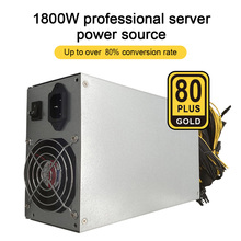 1800W ETH Mining Machine Power Supply 180-240V Input 10 x 6pin 80% Efficiency Support Multi-GPU For Bitcoin Mining