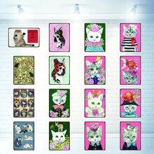 Dog  Cat Sign Pet Metal Plate Retro Animal Tin Plaque Wall Art Home Vintage Decor 30X20CM DU-2868