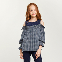 CupofSweet Off Shoulder Girls Blouses Shirts Casual Kids Clothing Summer Long Sleeves Plaid Contrast Cutout Tee Shirt Girl Tops
