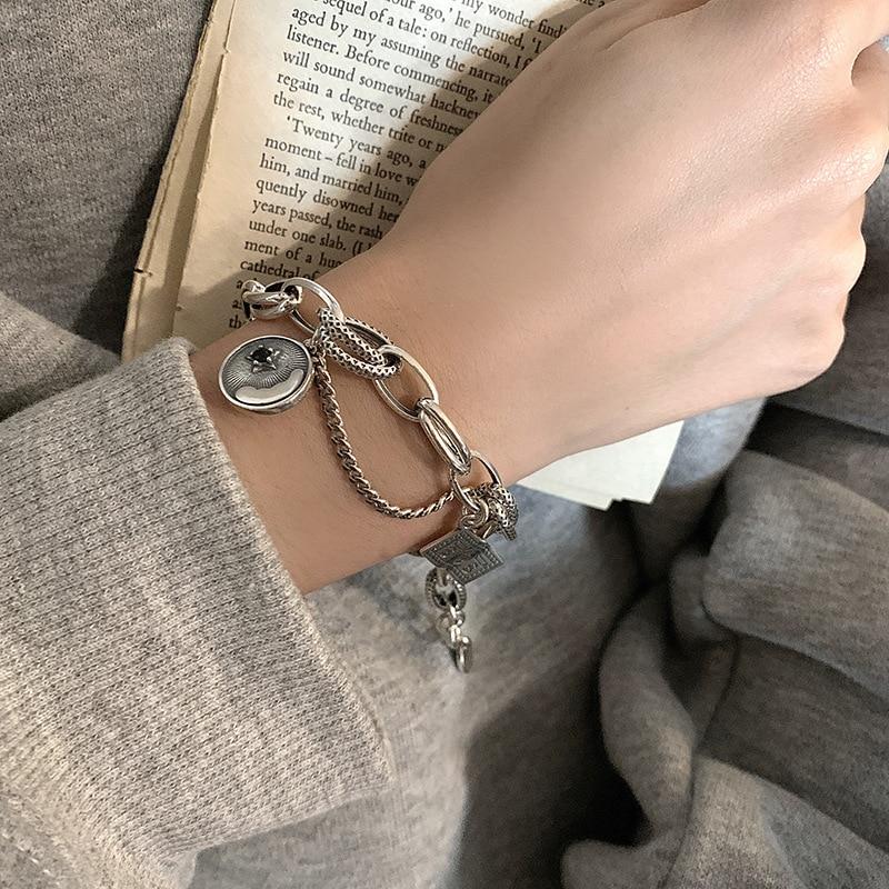 ANENJERY-pulsera de estrella Retro de Plata de Ley 925 para hombre y mujer, pulsera de plata tailandesa para Estilos mixtos, joyería S-B504