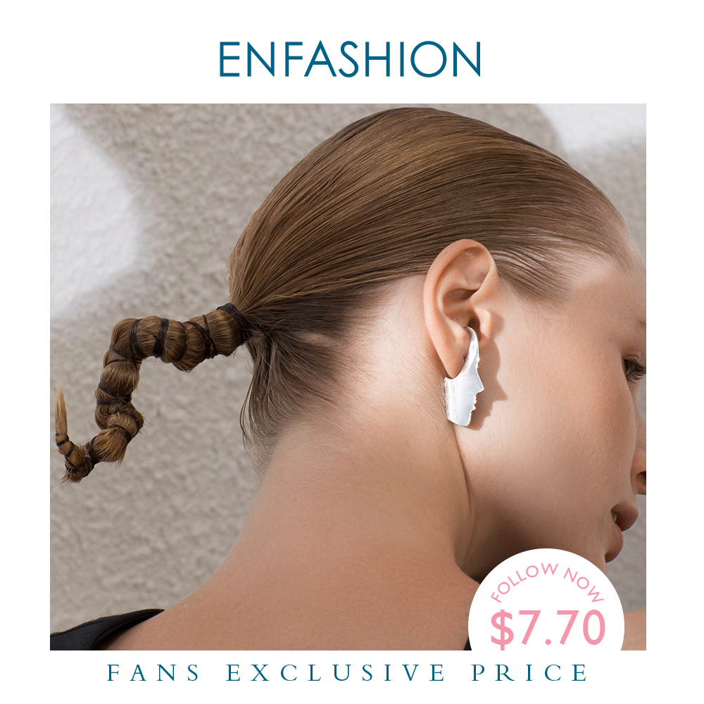 ENFASHION Punk Classic Face Stud Earrings For Women Gold Color Statement Stainless Steel Earings Fashion Jewelry Oorbellen E1118