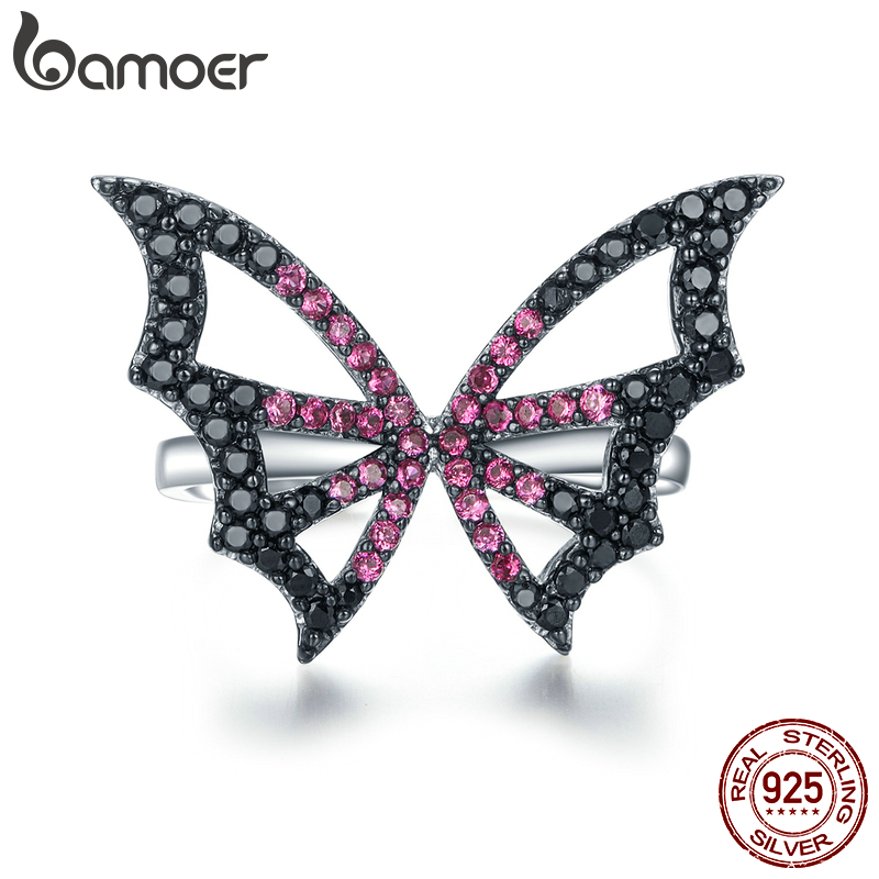 Bamoer Butterfly Open Adjustable Finger Ring For Women Silver 925 Bijoux Argent 925 Massif Female Cocktail Jewelry BSR072