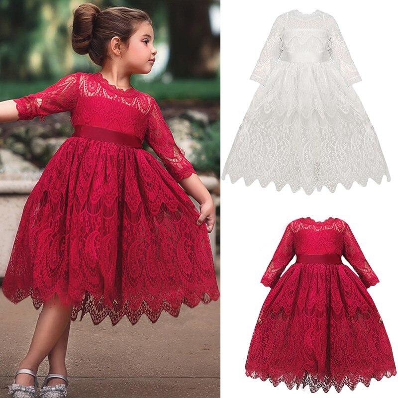 Meninas do bebê roupas pequena princesa rendas tutu vestido crianças roupas de aniversário vermelho infantil 3 4 5 6 7 anos
