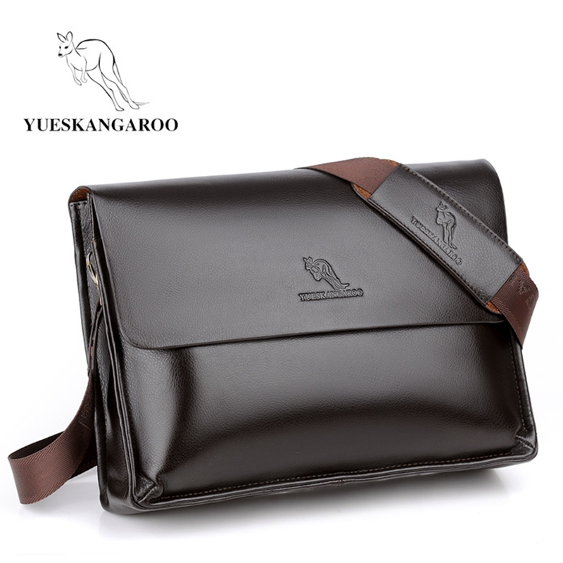 YUESKANGAROO Men's Leather Large Capacity Crossbody Bag Fashion Messenger Bags Business Shoulder Handbags Briefcase