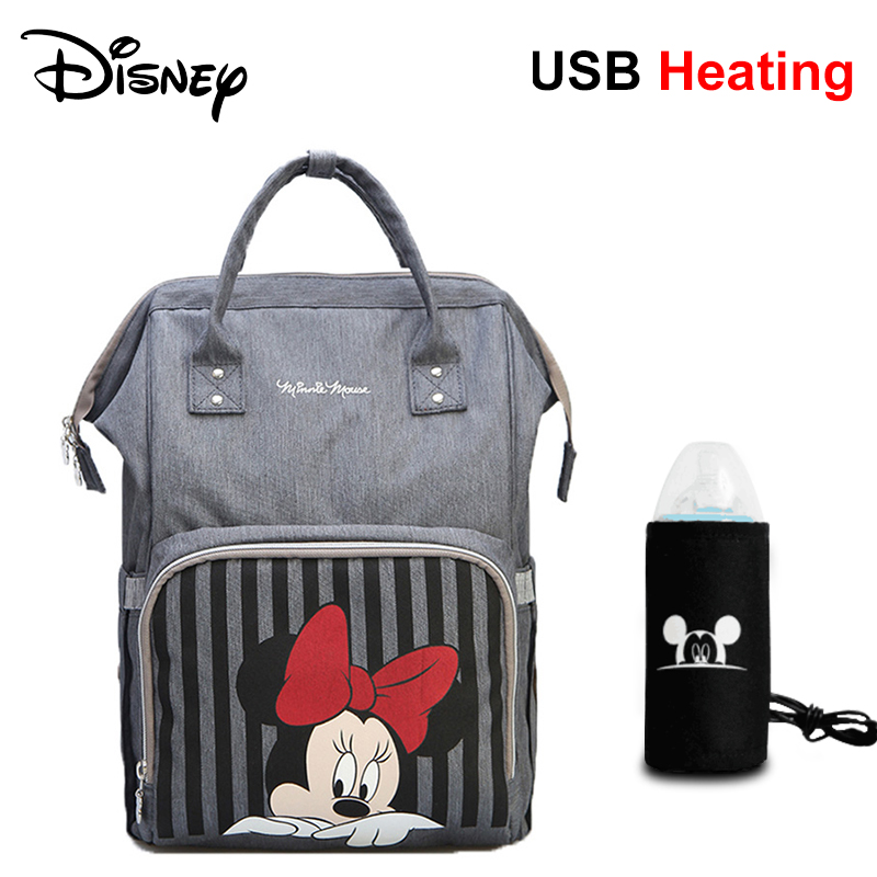 Disney Mickey Large Capacity Waterproof Diaper Bags Insulation Bottle Feeding Storage Bag Mummy Travel Backpack Baby Care mom