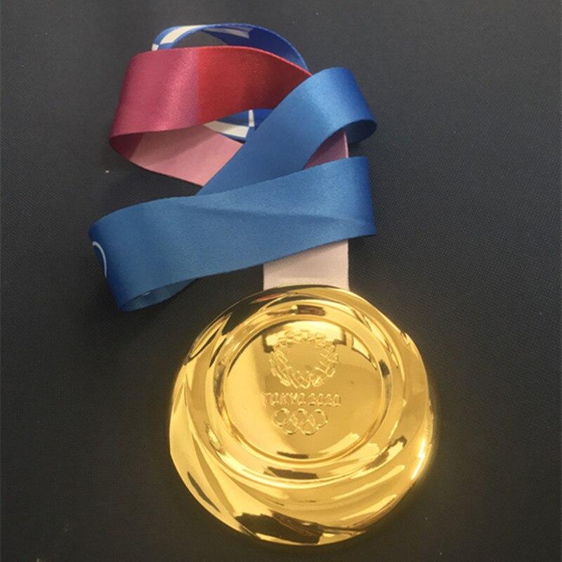Emblema esportivo para toquio 2020, emblema medalhão dourado para jogos de medalha, emblema de 85mm, emblema com fita, 1 peça