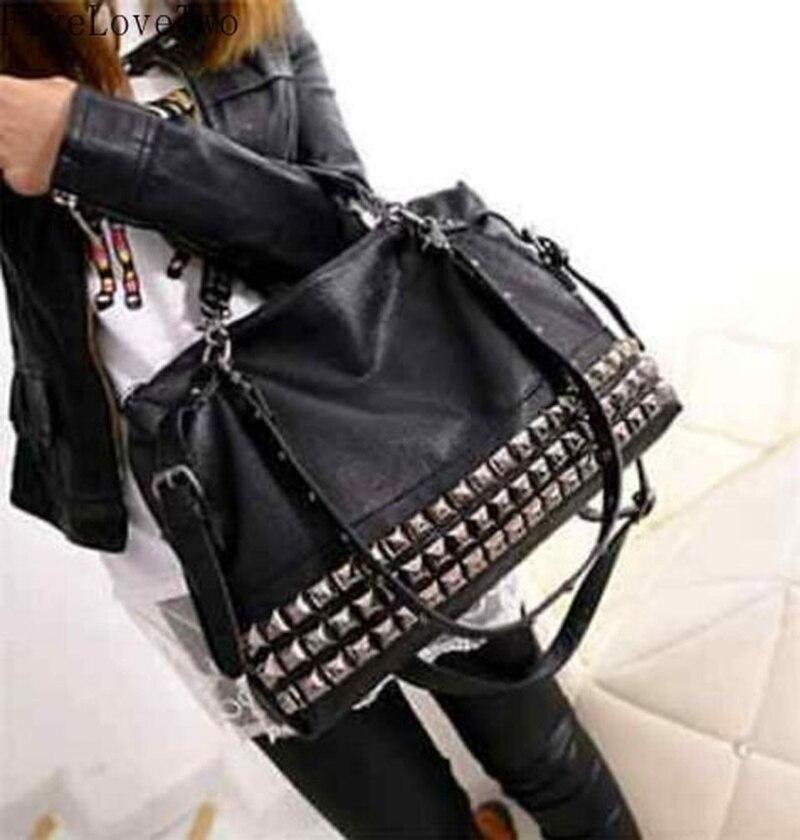 FiveLoveTwo Women Leather Stud Rivet Tote Shopping Handbag