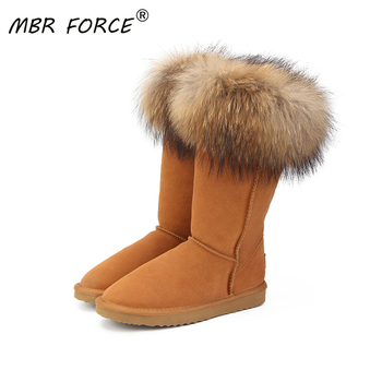 MBR FORCE Natural Real Fox Fur Women's Winter  Snow Boots Warm Long Boots Genuine Cow Leather High Winter Boots Women Shoes 2018 fashion natural cow suede split leather womans winter snow boots for women winter shoes warm fur high quality ankle boots