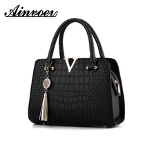 Ainvoev Frau Mode Krokodil Leder Buchstaben Designer Handtaschen Luxus qualität Dame Schulter Umhängetaschen fransen