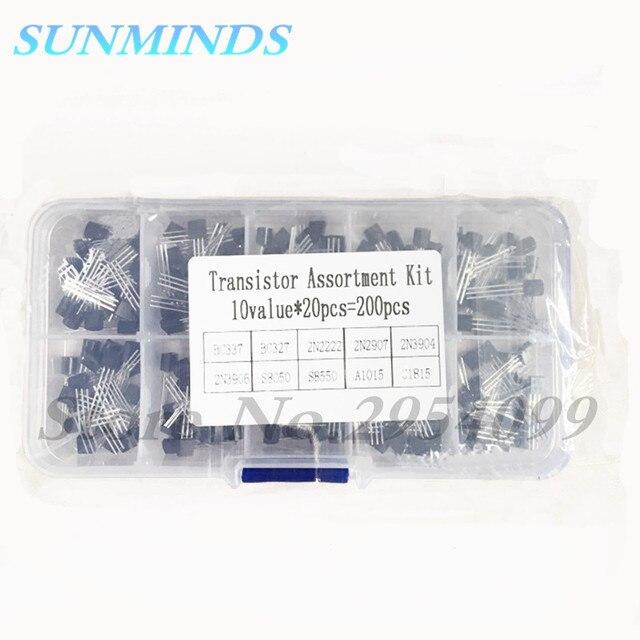 200 adet 10 tipi transistör çeşitler kiti transistör BC337 BC327 2N2222 2N2907 2N3904 2N3906 S8050 S8550 A1015 C1815 Diy kiti