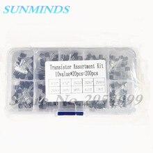 200Pcs 10 Tipo di Transistor Assortimento Kit Transistor BC337 BC327 2N2222 2N2907 2N3904 2N3906 S8050 S8550 A1015 C1815 Kit Fai da Te