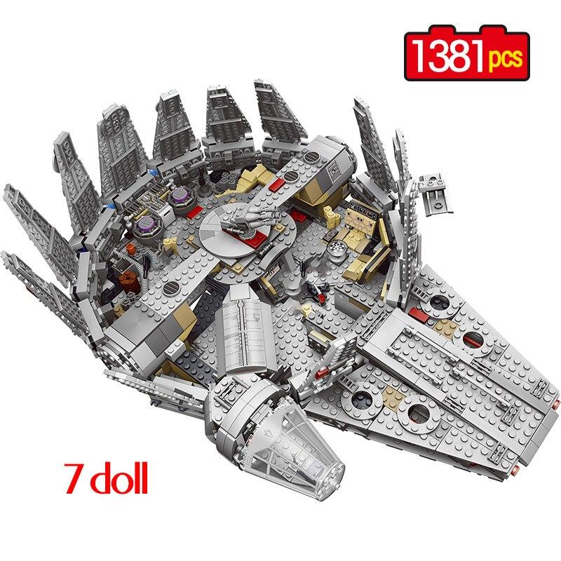 1381 pièces Force éveille Star Set Wars série Compatible millénaire 79211 Falcon modèle blocs de construction jouets pour enfants enfants cadeau