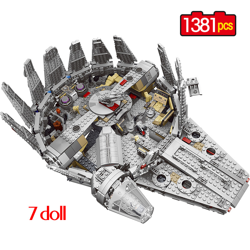 1381Pcs Force Awakens Star Set Wars Millennium 79211 Falcon Model Building Blocks Bricks Toys For Children Kids Gift