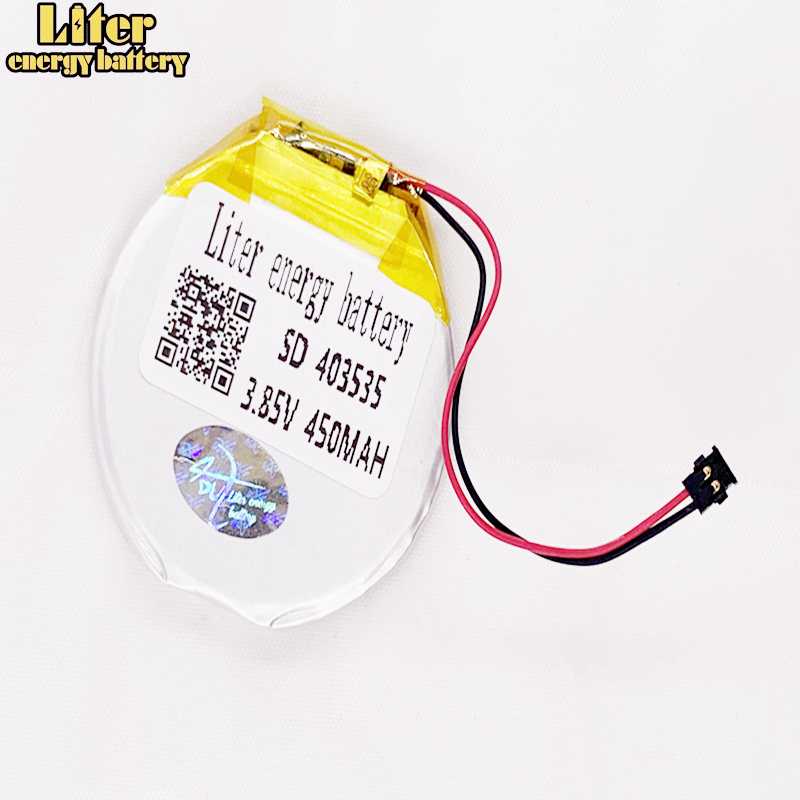 <font><b>3.7V</b></font> 3.85V 403535 <font><b>450mAh</b></font> Rechargeable li Polymer Round battery For Smart watch Finow x3 Finow x5 replace lem5 lem 5 image