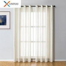 Полосатые прозрачные шторы для гостиной льняные тюлевые окна