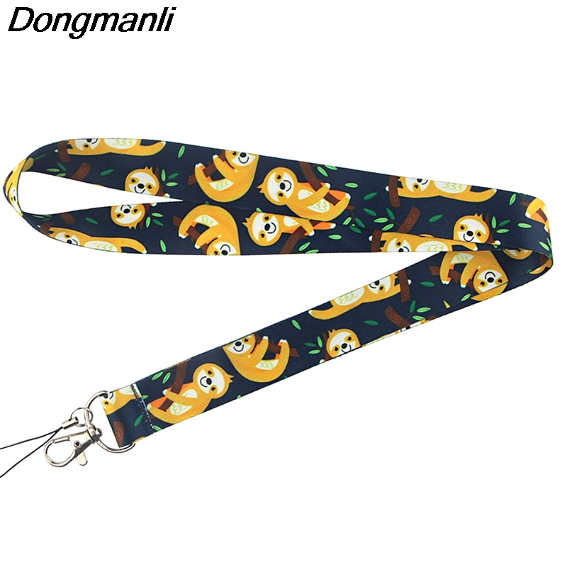 P4311 Dongmanli Cute Sloth Painting Art Key Chain Lanyard Neck Strap For Phone Keys ID Card Cartoon Lanyards