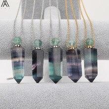 ナチュラル虹蛍石石香水瓶ペンダントネックレス女性六角宝石石ゴールドステンレス鋼ジュエリー DSS 248AMBH