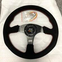 Vermelho costura mugen 14 polegada camurça volante de couro tuning drift racing volante do carro