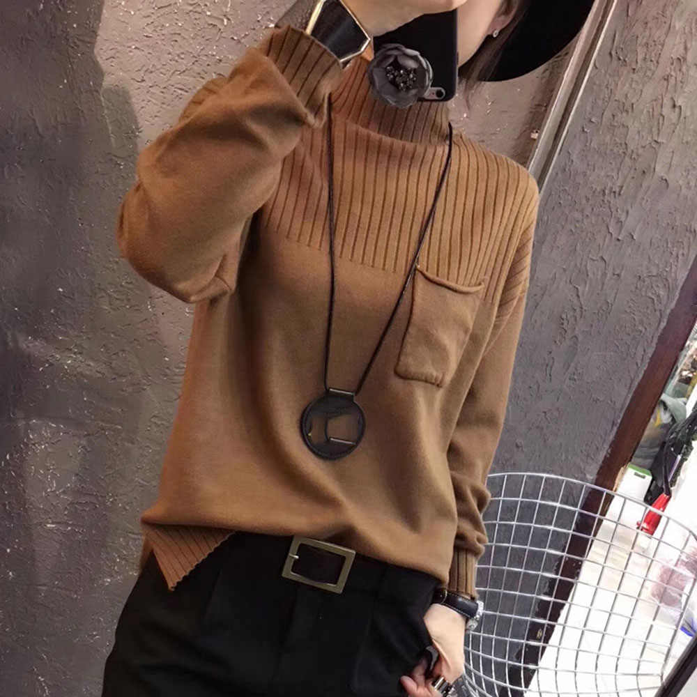 Базовый офисный Женский вязаный свитер, женский зимний Водолазка с длинным рукавом, пуловеры в Корейском стиле, повседневные Простые Топы, черная вязаная одежда коричневого цвета