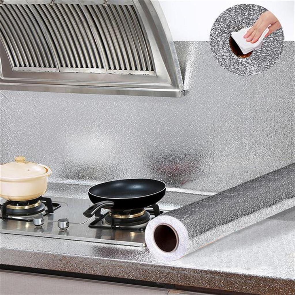 Kitchen Oil-Proof Wall Stickers Waterproof Self Adhesive Aluminum Foil Sticker