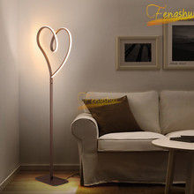 Nordic LED Creative Heart-shaped Floor Lamp Lighting Minimalist Floor Lights Hotel Living Dining Room Bedroom Bedside Stand Lamp