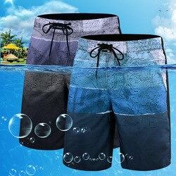 Roupa de banho masculina de secagem rápida beachwear tamanho grande 2020 impressão maiô verão praia nadar calças calções de banho masculinos L-6X