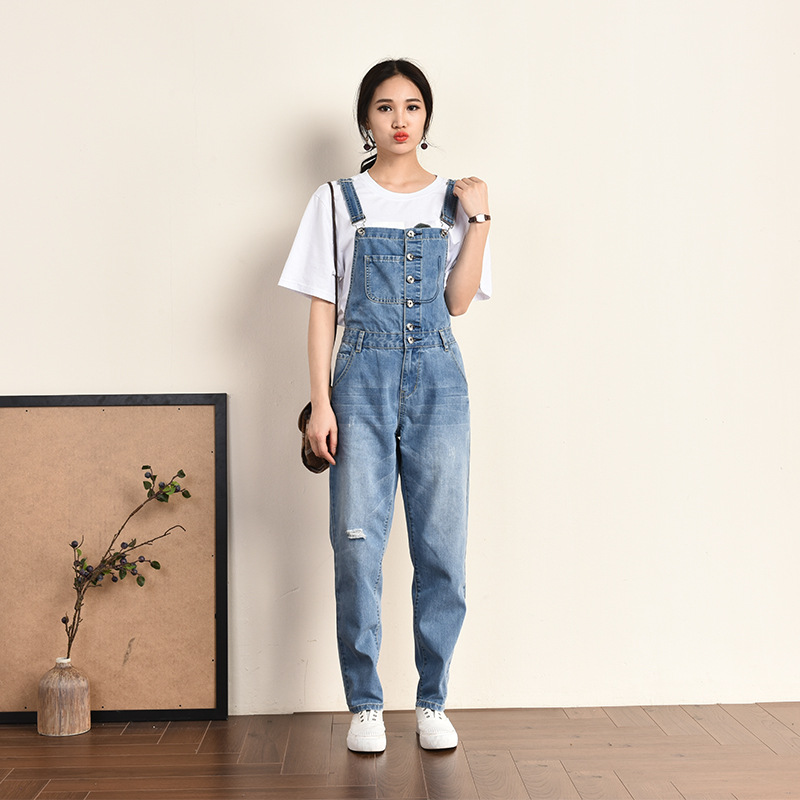 Women High Waist Jeans Suspenders Jumpsuits Plus Size 6XL Loose Casual Wide Leg Denim Overalls Women Hole Ripped Jumpsuit Romper