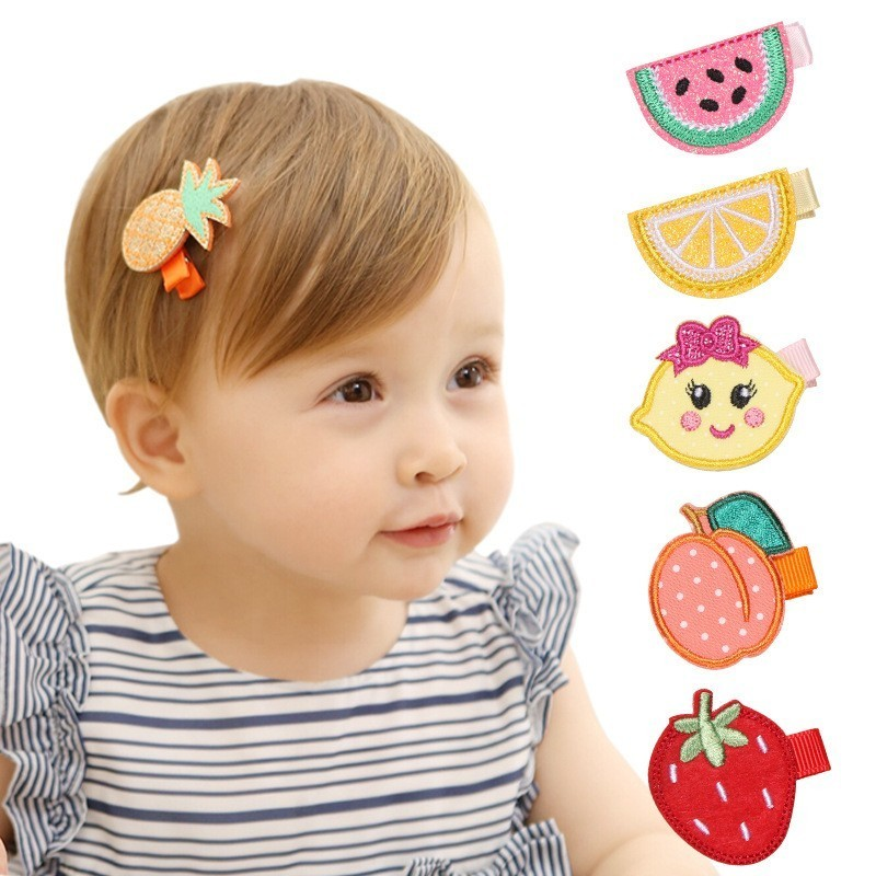MAYA STEPAN 1 Pcs Baby Girl Cartoon Cute Kawaii Fruit Infant Hair Accessory Newborn Headwear Tiara Gift Toddlers Clips Hairpins