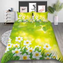 Thumbedding Nature Bedding Set Flowers Fresh High End Duvet Cover Green King Queen Twin Full Single Double Unique Design Bed Set