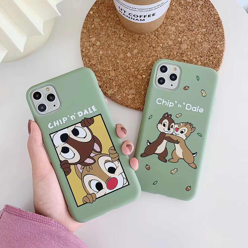 Cute Cartoon Chip Dale Squirrel 3d Relief Phone Case For Iphone 6 6s 7 8 Plus 11 Pro X Xs Max Xr Green Candy Soft Tpu Cover Aliexpress