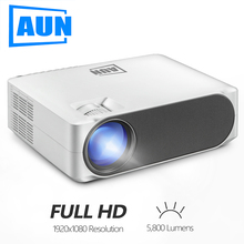 лучшая цена AUN Full HD Projector AKEY6, 1920x1080P, 5800 Lumens, Built in Multimedia System Video Beamer, LED Projector for Home Theater