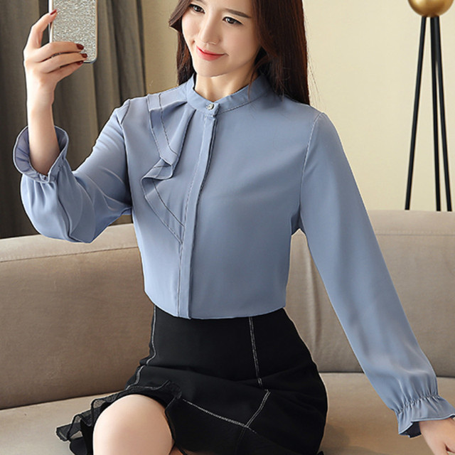 Women Spring Autumn Chiffon Blouses Tops Chiffon Blouses Shirts Ladies ruffless Blouse Femme Long Sleeve Plus Size Blusas 5
