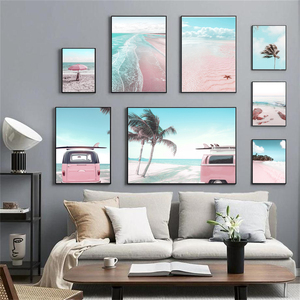 Sea Beach Pink Parasol Car Coconut Tree Wall Art Canvas Painting Nordic Posters And Prints Wall Pictures For Living Room Decor