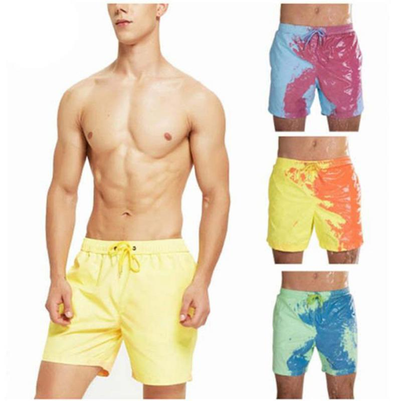 1 Pcs Magical Discoloration Swimwear Swimming Trunks Beach Pants Men's 6 Size Warm Color Discoloration Shorts Dry Bathing Shorts
