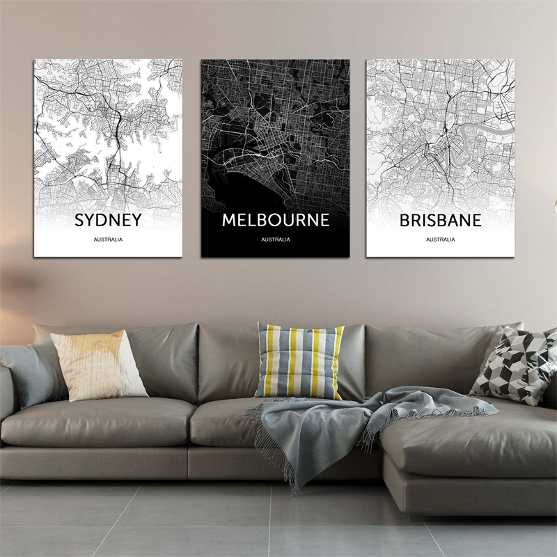 Modern Canvas Art Australia Map <font><b>Sydney</b></font> Brisbane Melbourne Black and White World City Map Posters Painting image