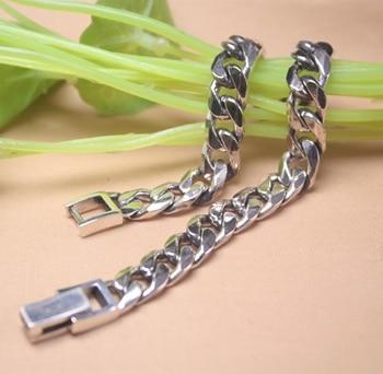 Real S925 Silver Bracelet Women Man's Curb Hot Sale Link 8mm Chain Link New Women Men's Bracelet 8''L