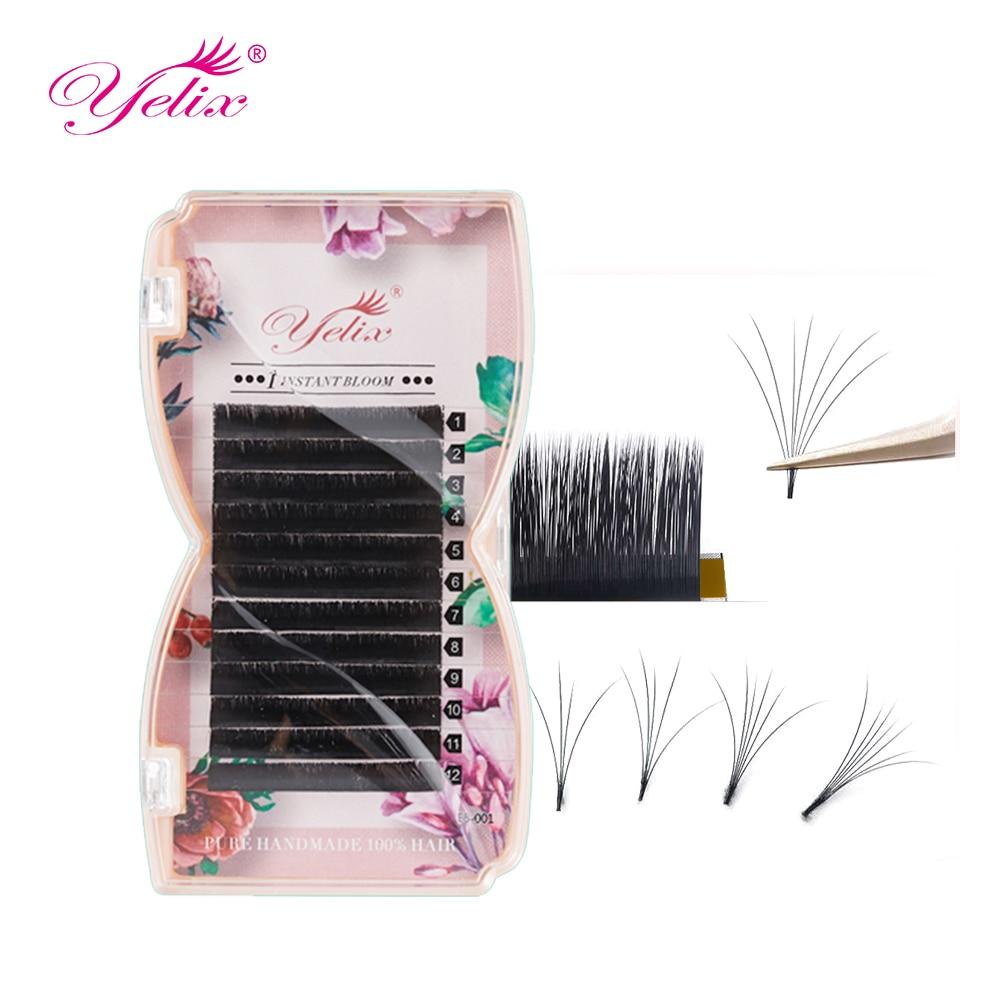 Yelix легко шум вентилятора серийной ресницы L Curl цветение пучковые ресницы для наращивания, искусственная ресницы серо-коричневого цвета мяг...