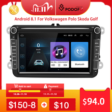 Podofo voiture lecteur multimédia Android 8.1 GPS 2 Din Autoradio Radio pour VW/Volkswagen/Golf/Polo/Passat/b7/b6/SEAT/leon/Skoda