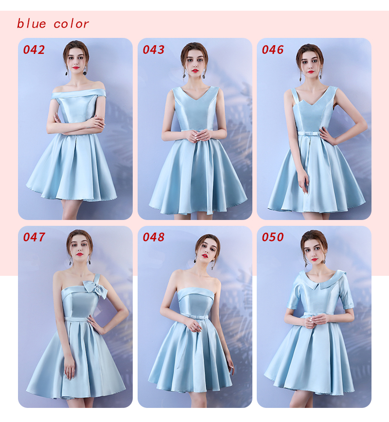 Blue Colour Bridesmaid Dresses Pink Above Knee Mini Dress Bow Knot One Shouler Elegant Women for Wedding Dress Back of Bandage