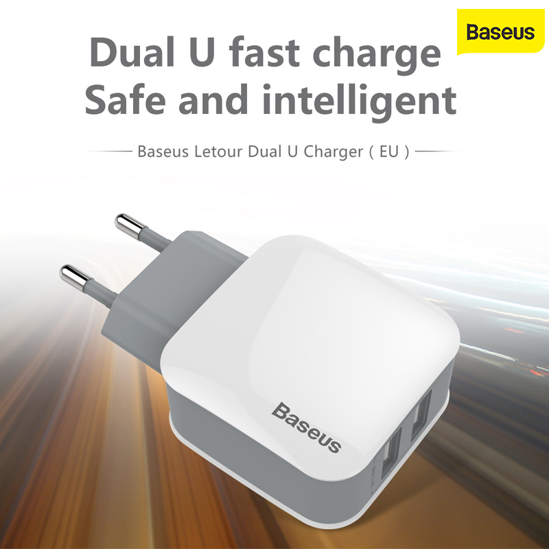 Baseus USB Charger Travel Wall Adapter EU US Plug Dual Ports Mobile Phone Charger For iPhone Huawei Samsung Xiaomi Wall Charger