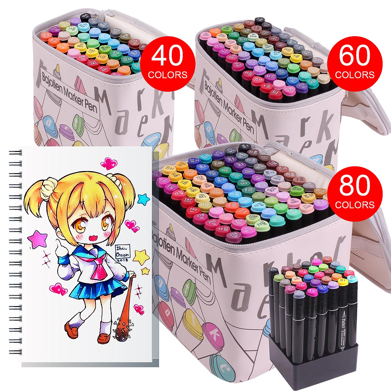 12/40/60/80Pcs Alcohol Dual Tip Marker Pens Manga Drawing Markers Pen Alcohol Based Brush Pen Art Supplies