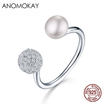 Anomokay New Creative Fine Pearl CZ Open 925 Silver Rings for Wedding Party Anniversity 100% 925 Sterling Silver Women Ring Gift image