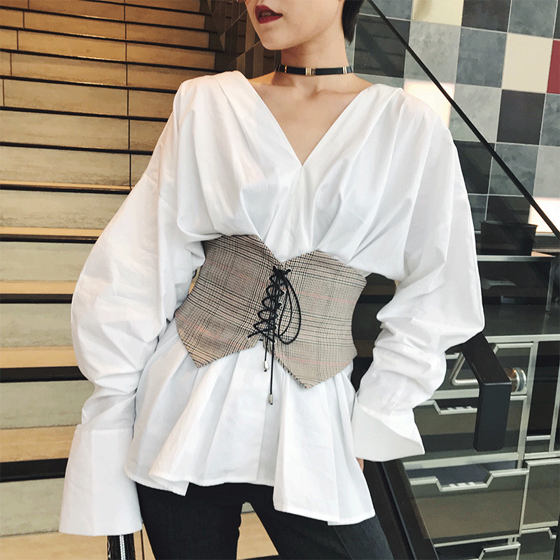 Bandage Wide Belts For Women Lace Up Vintage Fashion Waistband Solid Black And Plaid Khaki Shirt Waist Belt For Winter