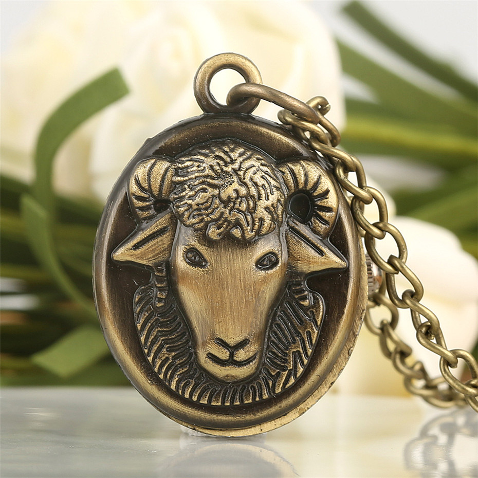 Bronze Goat Design Quartz Pocket Watch Mini Pendant Necklace Watch Gifts For Kids Men Women